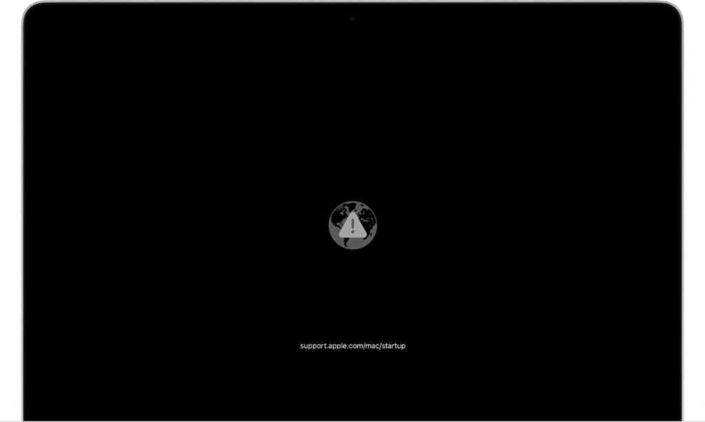 Macbook nao liga, mostra Globo com símbolo de alerta