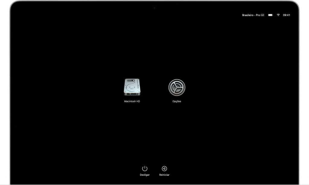 macbook nao inicializa, trava Opções com um ícone de engrenagem