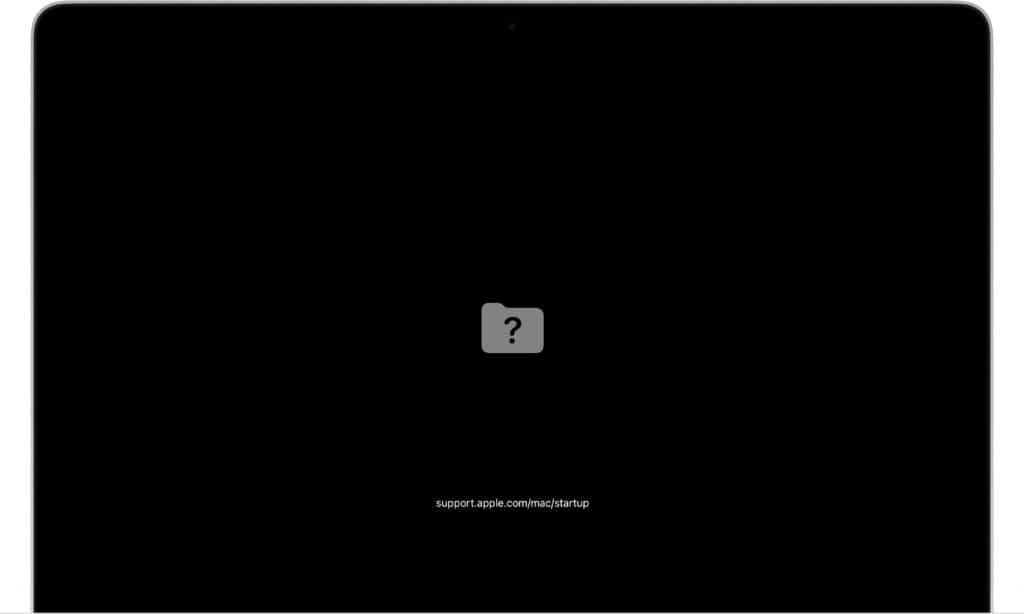 macbook liga e fica com Ponto de interrogação